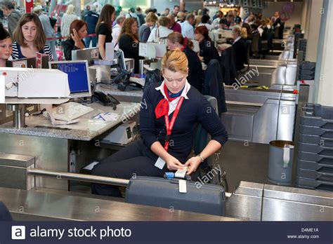 Duesseldorf, Germany, ground staff at airberlin check-in