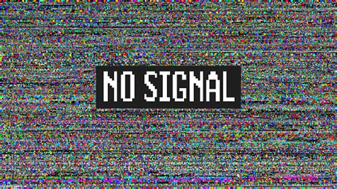 Glitch No Signal Message On Tv Set With Background Of