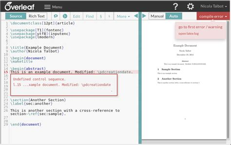Examples of Overleaf users not noticing error messages